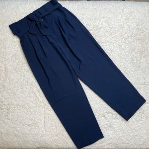 NWT Madewell Paperbag Pant with Tie in Navy